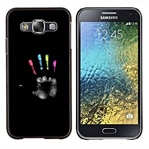 KLONGSHOP // Cubierta de piel con cierre a presión Shell trasero duro de goma Protección Caso - negro colores héroe palma pintura profunda - Samsung Galaxy E5 E500 //