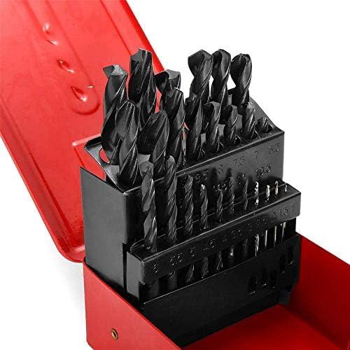 Wrench Tool 19pcs 1-13mm High Speed Steel Twist Drill Bit Set with Meatl Storage Box,19pcs