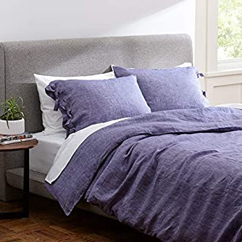 Rivet Lightweight Transitional Chambray Duvet Cover Bedding Set, Easy Care, Full / Queen, Chambray