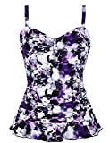 Hilor Women's 50's Retro Ruched Tankini Swimsuit Top with Ruffle Hem Purple Floral 22