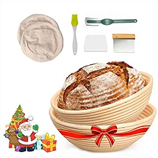 Bread Banneton Proofing Basket for Sourdough,Rising Dough Baking Bowl Includes Bread Lame Liner Cloth Brush (9 inch+10 inch)