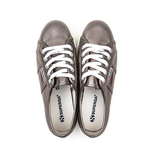 Superga Women's 2790 Cotmetw Metallic Textile Platform Trainer Grey-Grey-3 Size 3