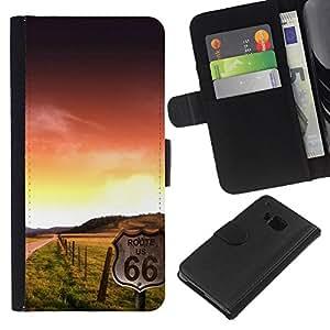 KLONGSHOP // Tirón de la caja Cartera de cuero con ranuras para tarjetas - Sunset Beautiful Nature 102 - HTC One M9 //