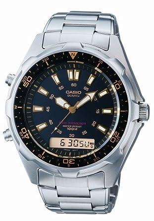 Casio AMW320RD-1A9 - Reloj analógico - digital de caballero de cuarzo con correa de acero inoxidable plateada - sumergible a 100 metros: Amazon.es: Relojes