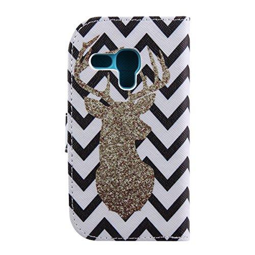 Funda para Galaxy S4 Mini, Flip funda de cuero PU para Galaxy S4 Mini, Galaxy S4 Mini Leather Wallet Case Cover Skin Shell Carcasa Funda, Ukayfe Cubierta de la caja Funda protectora de cuero caso del  Naughty Cerf