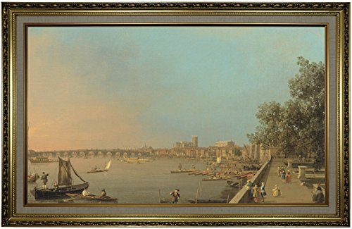 1750 Framed Canvas - Historic Art Gallery The The Thames from The Terrace of Somerset House, Looking Toward Westminster 1750 by Canaletto Framed Canvas Print, Size 19x32, Gold