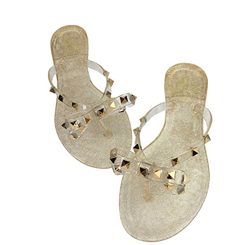 LuoBote Women Stud Flip Flops Clear Bow Sandals Beach Flat Crystal Jelly Thong Shoes Gold