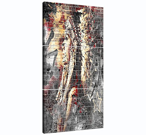 American Indian Woman Chief Paintings Modern Abstract Black White Red Wall Art Canvas 3 piece Framed for Living Room Home Decor Artworks Posters and Prints Framed Stretched Ready to Hang 24''W x 48''H by Yatsen Bridge