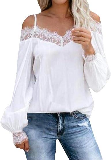 Timogee Blusa de Mujer Tops de Color Puro de Hombros Descubiertos Manga Larga Tirantes de Encaje Camiseta Casual: Amazon.es: Ropa y accesorios