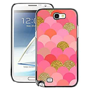 A-type Arte & diseño plástico duro Fundas Cover Cubre Hard Case Cover para Samsung Note 2 N7100 (Scales Pattern Gold Pink Glitter Bling)