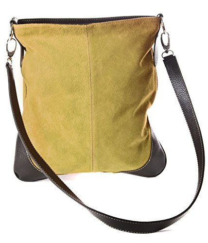 Bag Messenger Handbag Trim Br148 Body Leather Cross Tan Real Light with Big Faux Shoulder Suede xgwWqp8pn1