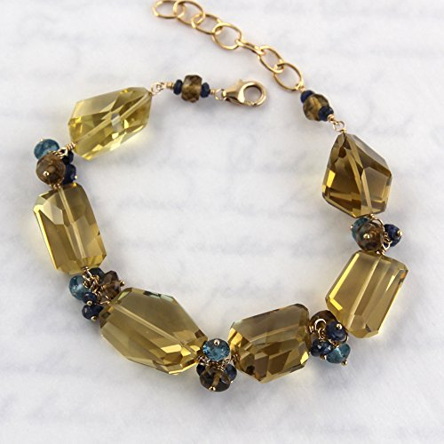Dark Champagne Quartz Bracelet with Blue Sapphires and London Blue Topaz - Gold Filled - Champagne Quartz Bracelet