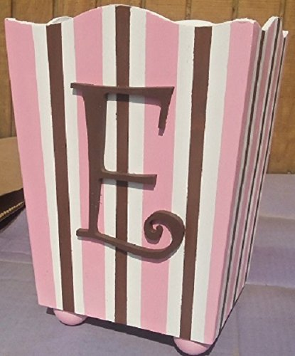 PINK AND BROWN STRIPES CUSTOM PERSONALIZED WOODEN WASTEBASKET