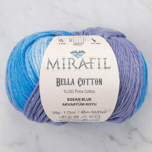 (3 Pack Mirafil Bella Cotton, Variegated Colors, 100% Pima Cotton Yarn 50 g (1.76 oz) / 85 m (92 yd), Yarn Weight: 4 : Worsted-Aran (Aegean Blue))
