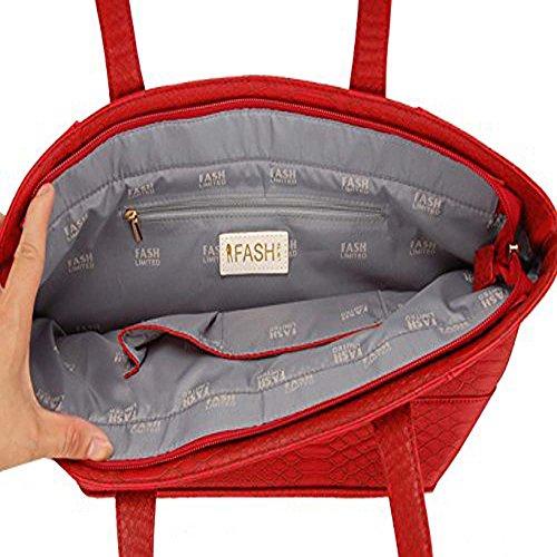 Designer Red Size Limited Skin Handbag FASH Embossed One Tote Snake znxInqw7O6