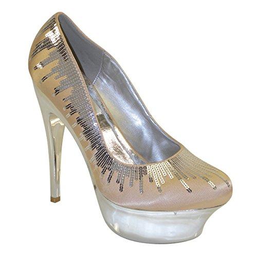 Brand New Almond Toe Lentejuelas Sky High Stiletto Sexy Lady Bombas Sh1175 Chanmpagne (10)