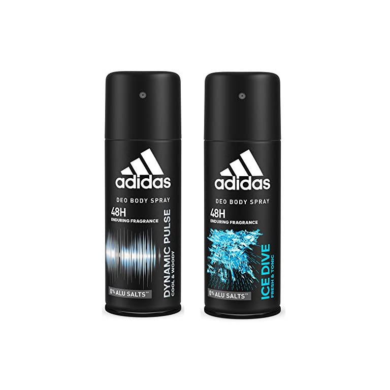 51TW%2BFxKscL. SS768  - Adidas Dynamic Pulse And Ice Dive Deodorant Body Spray Combo For Men, 150ml (Pack Of 2)