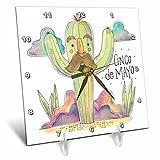 3dRose Sven Herkenrath Celebration - Cinco de Mayo Drawing of a Funny Cactus - 6x6 Desk Clock (dc_281654_1)