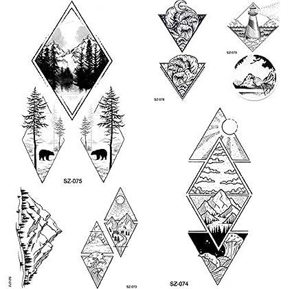yyyDL etiqueta engomada del tatuaje temporal del arte 91D Negro ...