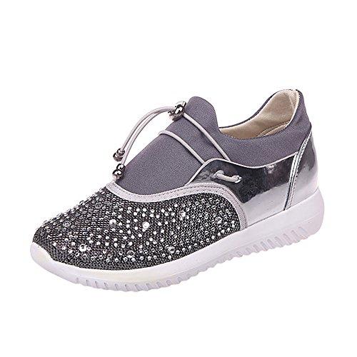 Zapatillas para Mujer Deporte Running Zapatos para Correr Gimnasio Sneakers Deportivas Transpirables Casual Plata