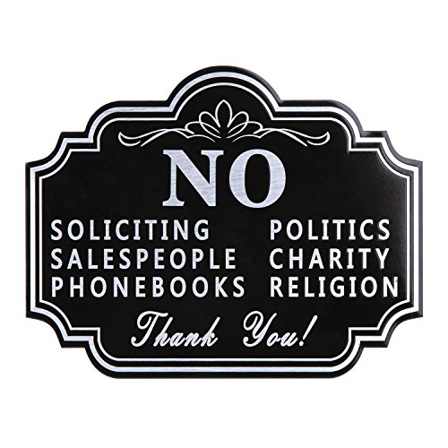 """No Soliciting Aluminum Sign with Sticker for Home and Business Heavy Duty 40 Mil Aluminum Etching Cut 5"""" X 4"""" Outdoor Indoor Use with Door Knockers and Bell (Classic Black)"""