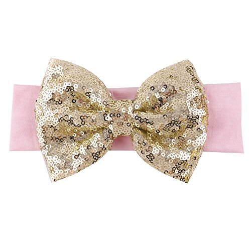 BAOBAO Kid Girl Glitter Shiny Sequined Bow Turban Knot Hair Band Headband -