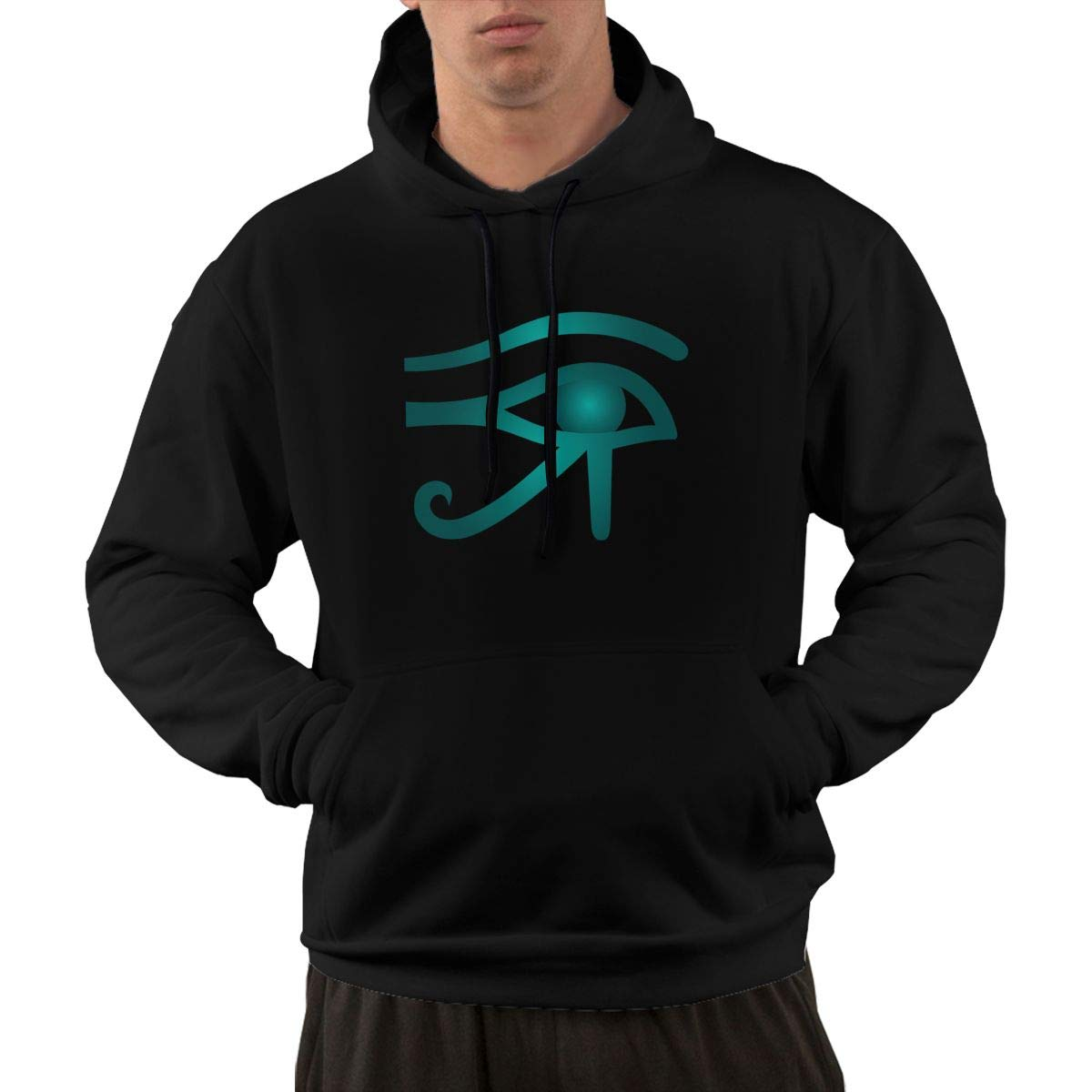 VANMASS Men Ankh Eye of Horus Ancient Egyptian Long Sleeve Pullover Hooded Sweatshirts