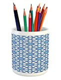Lunarable Arabian Pencil Pen Holder, Traditional Moorish Turkish Tangled Pattern and Geometric Lines Asian Artwork Print, Printed Ceramic Pencil Pen Holder for Desk Office Accessory, Blue White