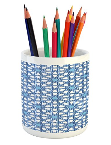 Lunarable Arabian Pencil Pen Holder, Traditional Moorish Turkish Tangled Pattern and Geometric Lines Asian Artwork Print, Printed Ceramic Pencil Pen Holder for Desk Office Accessory, Blue White by Lunarable