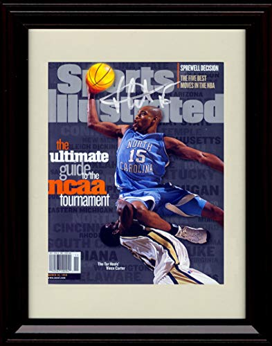(Framed Vince Carter Sports Illustrated Autograph Replica Print - NCAA Preview - North Carolina Tarheels)