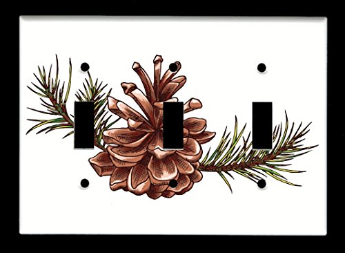Triple Toggle (3-toggle) Light Switch Plate Cover - Trees - Tree Pine Cone ()
