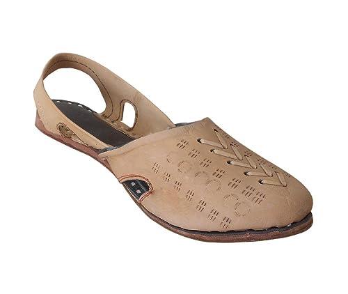 kalra Creations Mujer Tradicional Indio Zapato Sandalia Piel Mocasines Pisos, color Marrón, talla 35