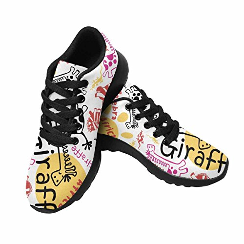 InterestPrint Womens Jogging Running Sneaker Lightweight Go Easy Walking Comfort Sports Athletic Shoes Hand Drawn Funny African Animals, Zebra, Giraffe, Lizard