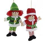 """Kurt Adler 5"""" Raggedy Ann & Andy Miniature Plush Ornaments 2/asstd: 8ea Ann & 4ea Andy"""