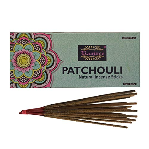 Patchouli Incense Sticks - raajsee Incense Sticks Patchouli 100 gm Pack-100% Pure Organic Natural Hand Rolled Free from Chemicals-Perfect for Church,Aromatherapy,Relaxation,Meditation,Positivity & Sensual Therapy 100 GMS Pack
