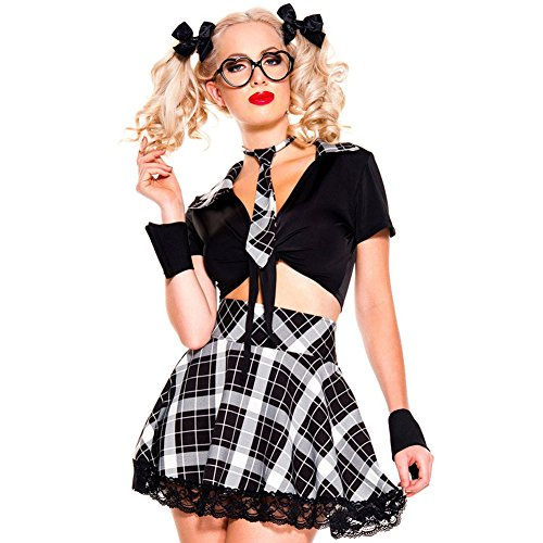 [BYY 5 Pieces Black Plaid Detention Hottie Costume(White,M)] (Fancy Dress Beginning With F)