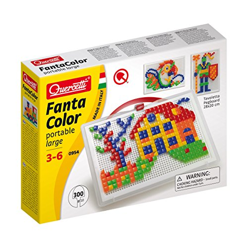 (Quercetti Fantacolor Portable Large - Mosaic Pegboard with 300 Pegs - A Timeless Arrangement Game with Sturdy Carry Case for Ages 4 + (Made in Italy))