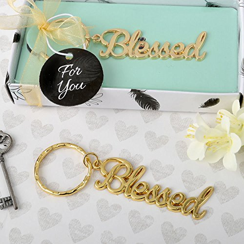 Theme Key Box - Blessed Theme Gold Metal Religious Key Chain Favors, 36