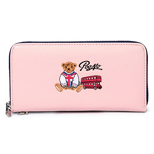 fency-womens-cute-bear-wallet-long-embroidered-faux-leather-zip-around-purse-with-wrist-strap-poono-