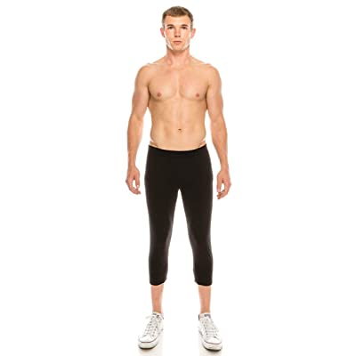 Neovic Mens Athleisure Ultra Soft Knit 3/4 Mid Calf Yoga Pants Base Layer Casual Solid Leggings - Black - XL at Men's Clothing store