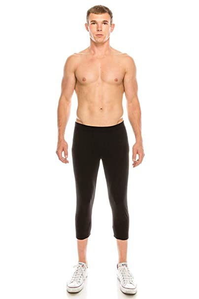 Neovic Mens Athleisure Ultra Soft Knit 3/4 Mid Calf Yoga Pants Base Layer Casual Solid Leggings S-XL