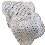 White 50x70in Super Chunky Blanket,Chunky Knit Blanket.Super Bulky Blanket,Cable Knit Throw,Chunky Knit Throw,Arm Knit Blanket,Giant Knit Blanket