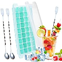 Silicone Ice Cube Trays with Lid, with 2 Stainless Steel Mixing Spoon, for 36 Square Cubes Flexible Easy Release Freezer Molds By GESCHOK