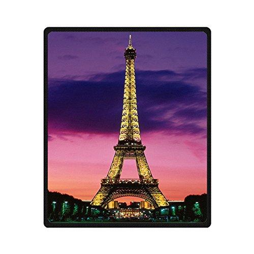 Custom Eiffel Tower Dark Cloud Dusk Supersoft Throw Fleece Blanket 50