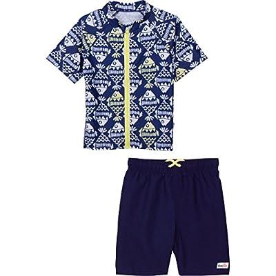 SwimZip Zipper Short Sleeve Rash Guard Swimsuit Set Fish Bone Blue