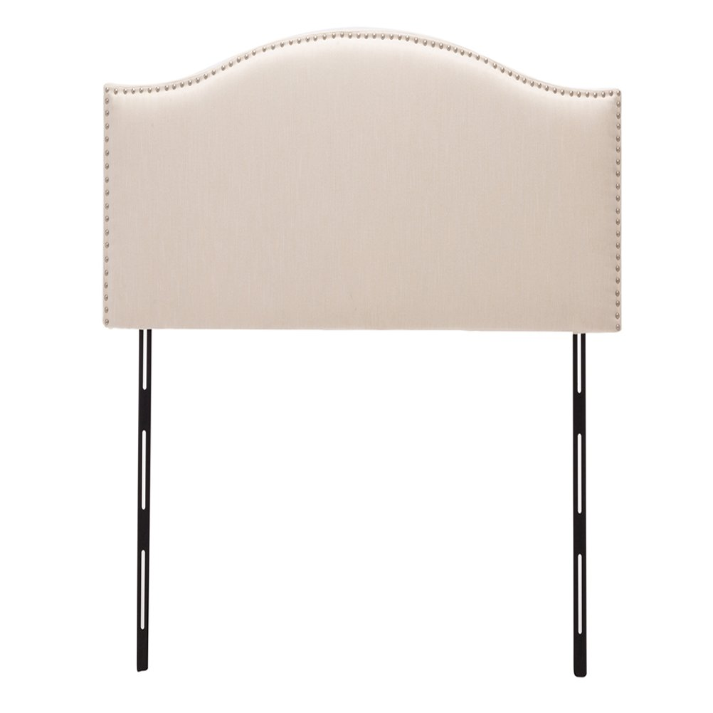 Haobo Twin Nailhead Linen Upholstered Headboards with Curved Top Height Adjustments