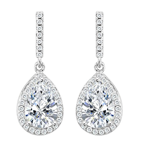 EleQueen 925 Sterling Silver Full Cubic Zirconia Teardrop Bridal Dangle Earrings Clear