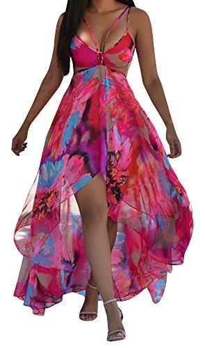 Lovaru Womens Floral Print Chiffon Flowing Boho Boyshorts Romper Dress for Beach