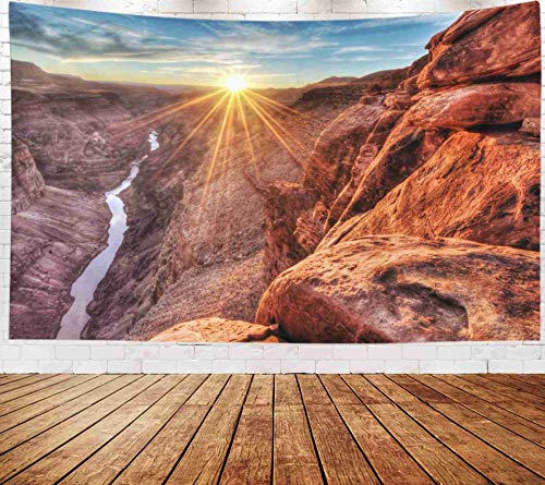 Fullentiart Wall Tapestry, Map Large Tapestry Wall Hanging 80x60inch Sunset Grand Canyon National Park Arizona Decoration Room Holiday Décor Tapestries ()