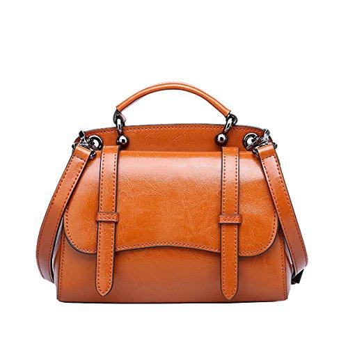 DISSA VQ0861 Damen Leder Handtaschen Satchel Tote Taschen Schultertaschen Braun